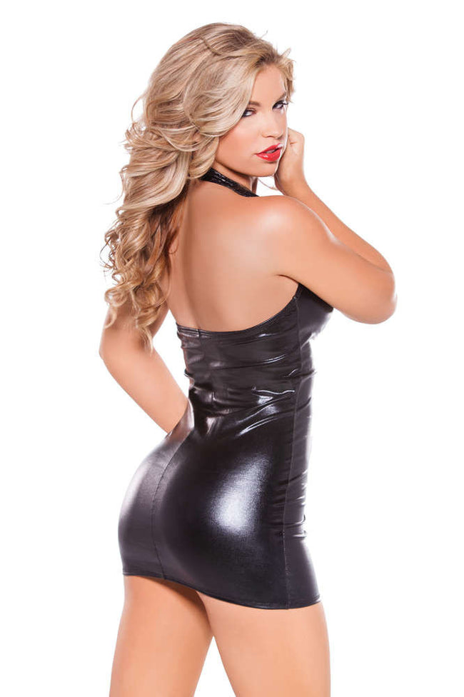 Kitten Wetlook And Faux Leather Dress - Females Fashion
