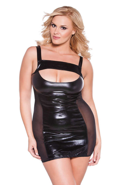 Plus Size Kitten Cut Out Dress - Fashion