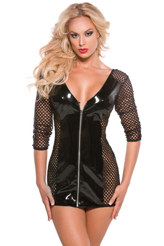 Vinyl And Fishnet Dress - Fashion