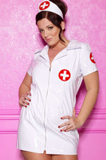 Plus Size Vinyl Nurse Costume - Fashion