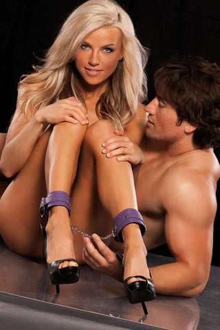 X-Play Purple Ankle Cuffs With Chain - Fashion
