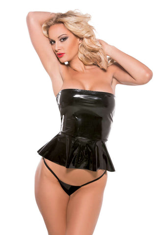 Second Skin Strapless Peplum Top G-String Included - Fashion