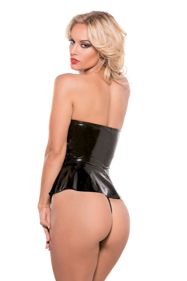 Second Skin Strapless Peplum Top G-String Included - Females Fashion