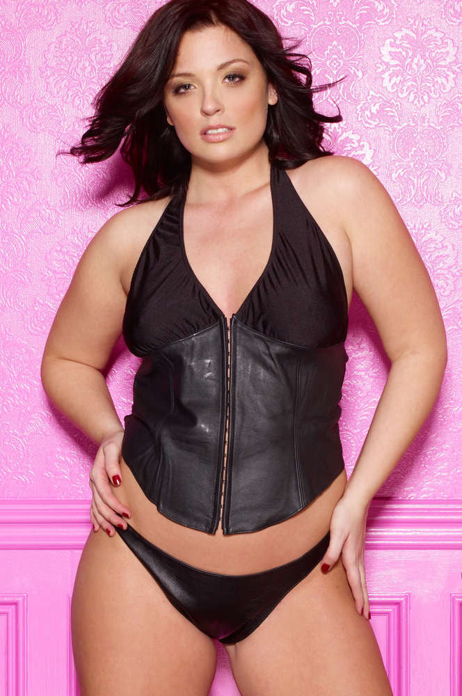 Plus Size Leather And Lycra Bustier - Fashion