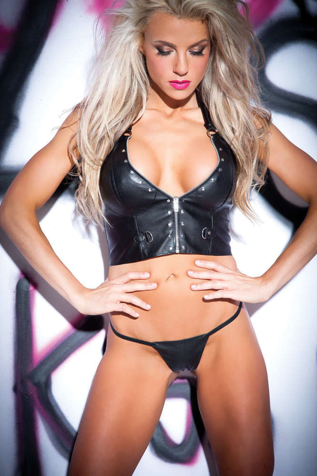 Faux Leather Zip And Rivet Bustier And G-String - Fashion