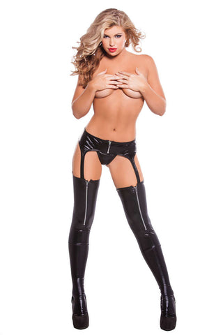 Kitten Wet Look Zipper Garter Tights G-String Included - Fashion