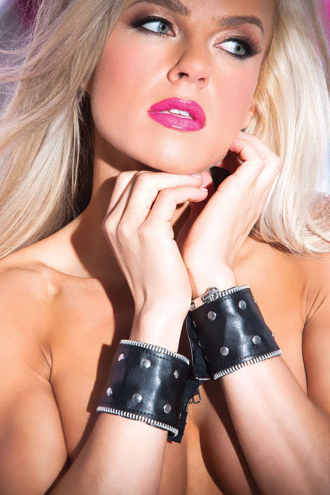 Faux Leather Zip And Rivet Wrist Cuffs - Fashion
