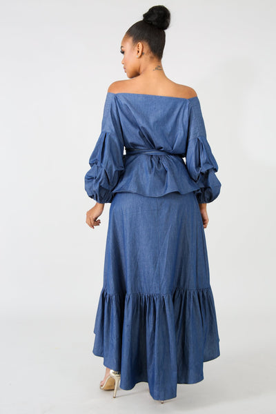 Chambray Maxi Skirt Set DENIM
