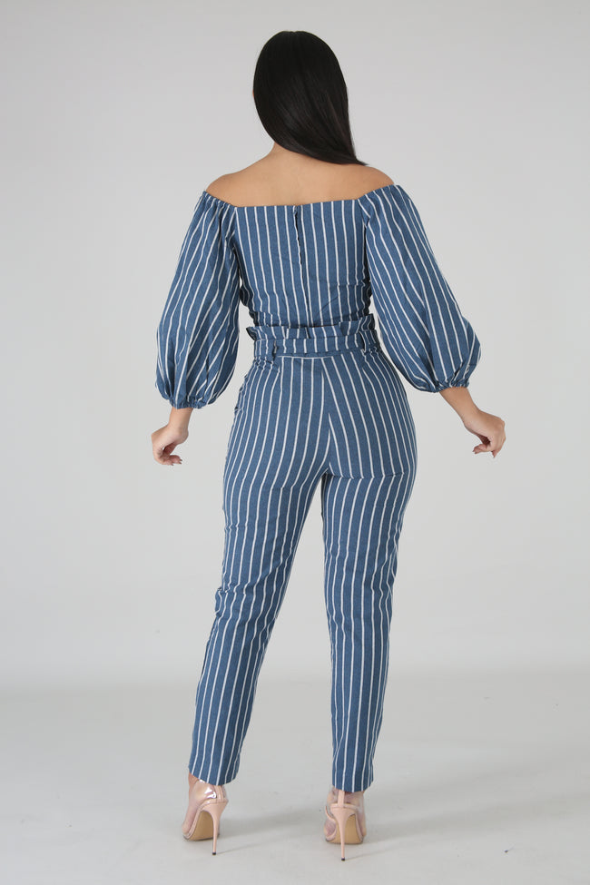 Chevron Boxy Pant Set DENIM