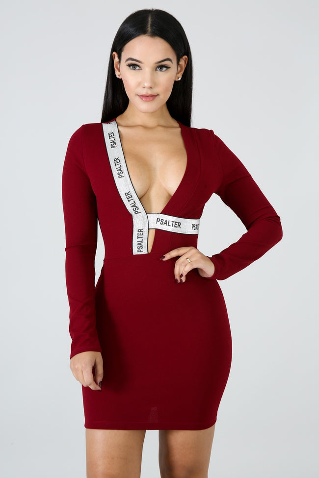 Closing Night Mini Dress BURGUNDY