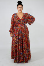 Color Strokes Maxi Dress RED
