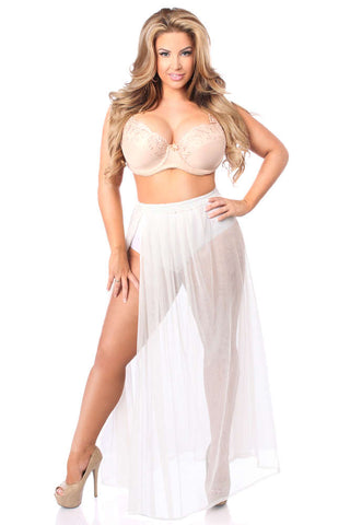 Plus Size  Sheer Glitter Skirt - Fashion