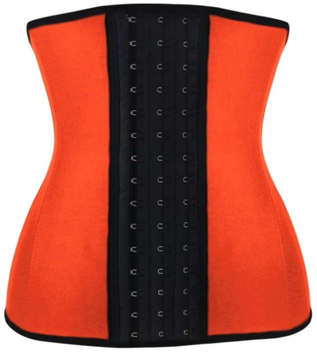 Orange Steel Boned Latex Shaper Waist Training Corset - Fashion