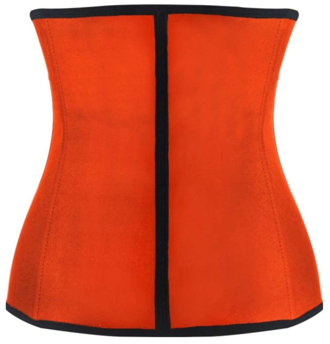 Orange Steel Boned Latex Shaper Waist Training Corset - Females Fashion