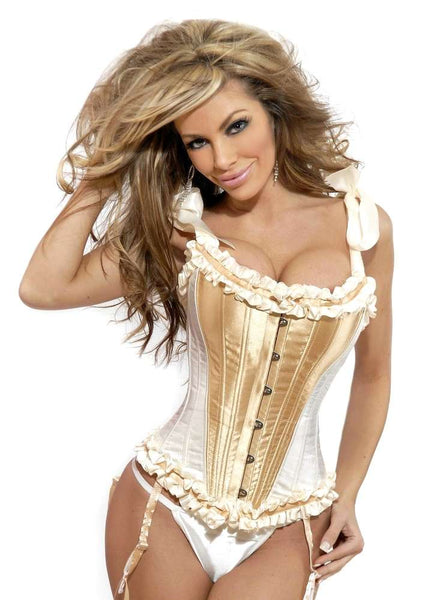 Steel Boned Tie Strap Burlesque Corset - Fashion