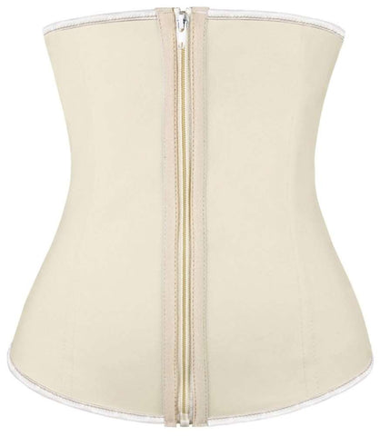 Plus Size Nude Latex Waist Training Corset W/Zipper - Fashion