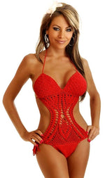 Red Crochet Monokini - Fashion