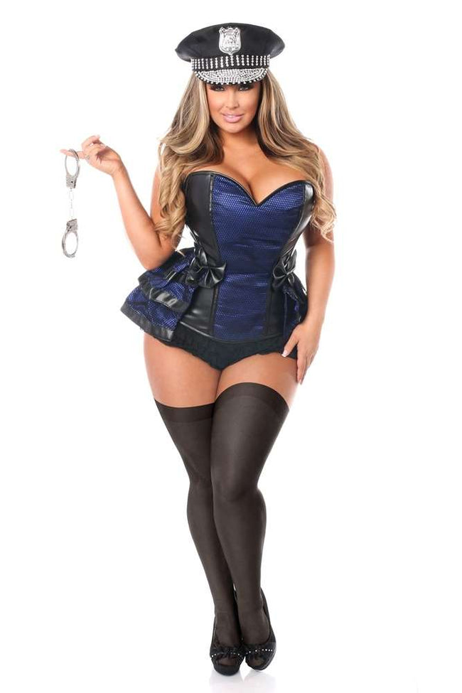 5 PC Officer Frisky Corset Costume - Females Fashion