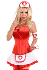5 PC Pin-Up Nurse Corset Costume - Fashion