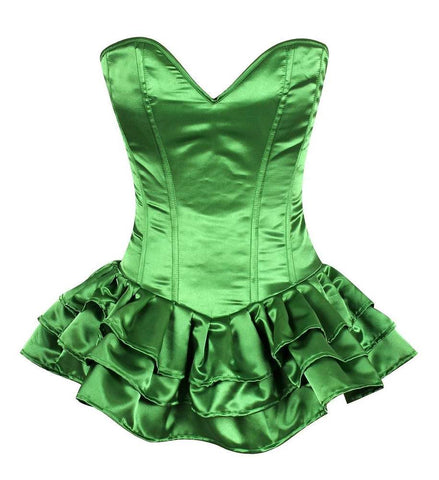Plus Size  Green Satin Corset Dress - Fashion