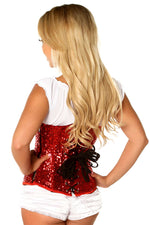 8ddd47a347 ... Plus Size Red Sequin Underbust Corset - Females Fashion