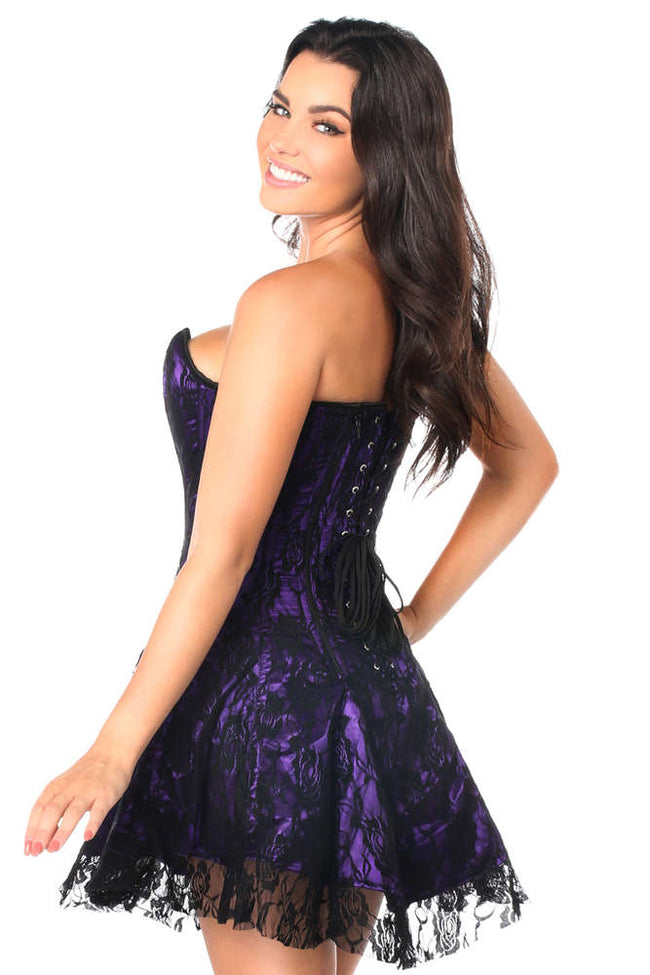 Plus Size  Purple Lace Corset Dress - Females Fashion