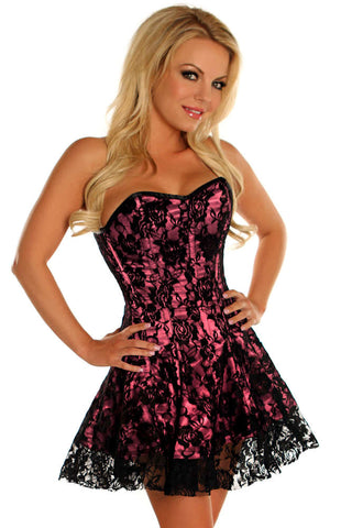 Plus Size  Pink Lace Corset Dress - Fashion