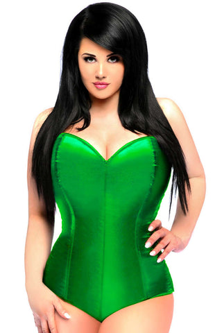 Green Satin Corset Romper - Fashion