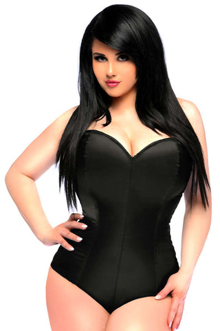 Black Satin Corset Romper - Fashion