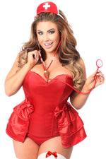 Plus Size  4 PC Naughty Nurse Corset Costume - Fashion