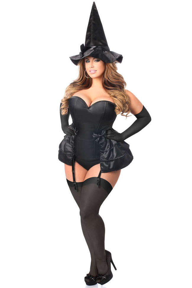 4 PC Midnight Witch Corset Costume - Females Fashion