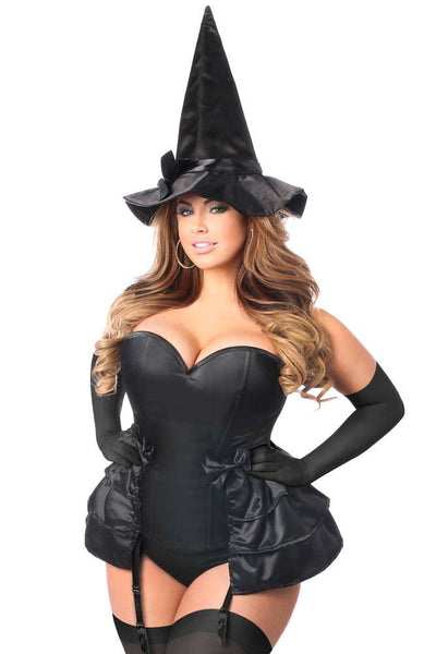 Plus Size  4 PC Midnight Witch Corset Costume - Fashion