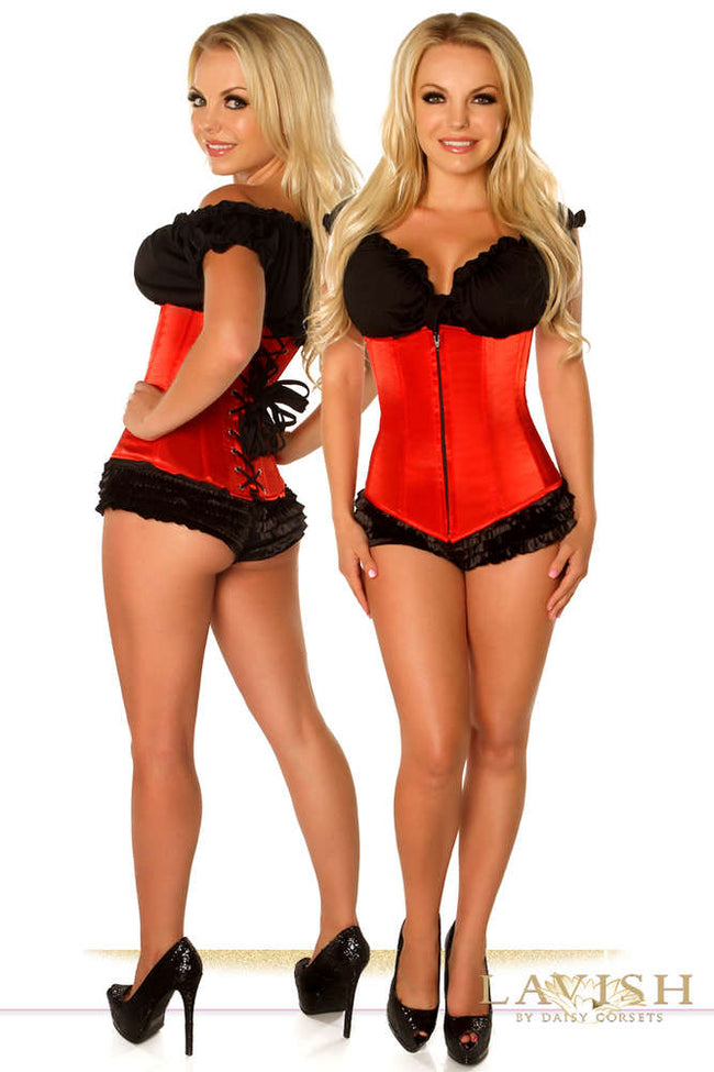 Plus Size  Red Underbust Zipper Corset - Females Fashion