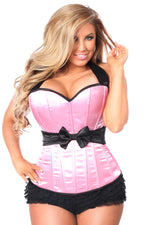 Plus Size  Pink Halter Corset W/Bow - Fashion