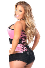 Plus Size  Pink Halter Corset W/Bow - Females Fashion
