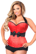 Plus Size  Red Halter Corset W/Bow - Fashion