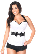 Plus Size  White Halter Corset W/Bow - Fashion
