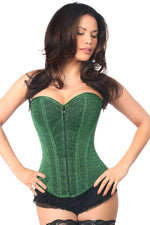 Plus Size  Green Glitter Front Zipper Corset - Females Fashion