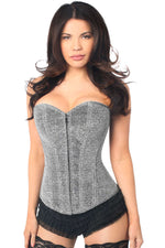 Plus Size  Silver Glitter Front Zipper Corset - Females Fashion
