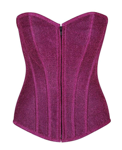 Fuchsia Glitter Front Zipper Corset - Fashion