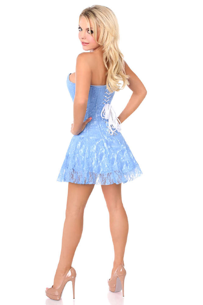 Pastel Blue Lace Corset Dress - Females Fashion
