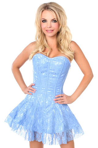 Plus Size  Pastel Blue Lace Corset Dress - Fashion