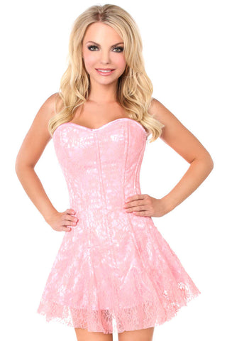 Plus Size  Light Pink Lace Corset Dress - Fashion
