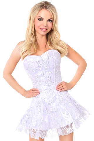 White/Silver Lace Corset Dress - Fashion