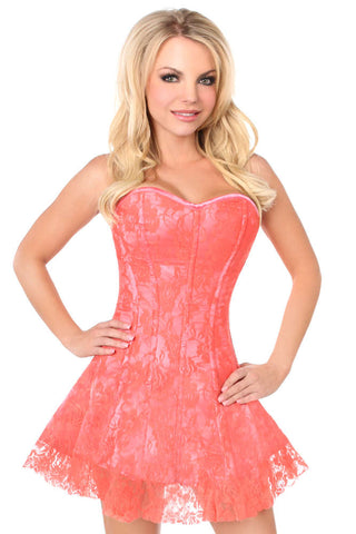 Coral Lace Corset Dress - Fashion