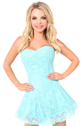 Plus Size  Mint Green Lace Corset Dress - Fashion