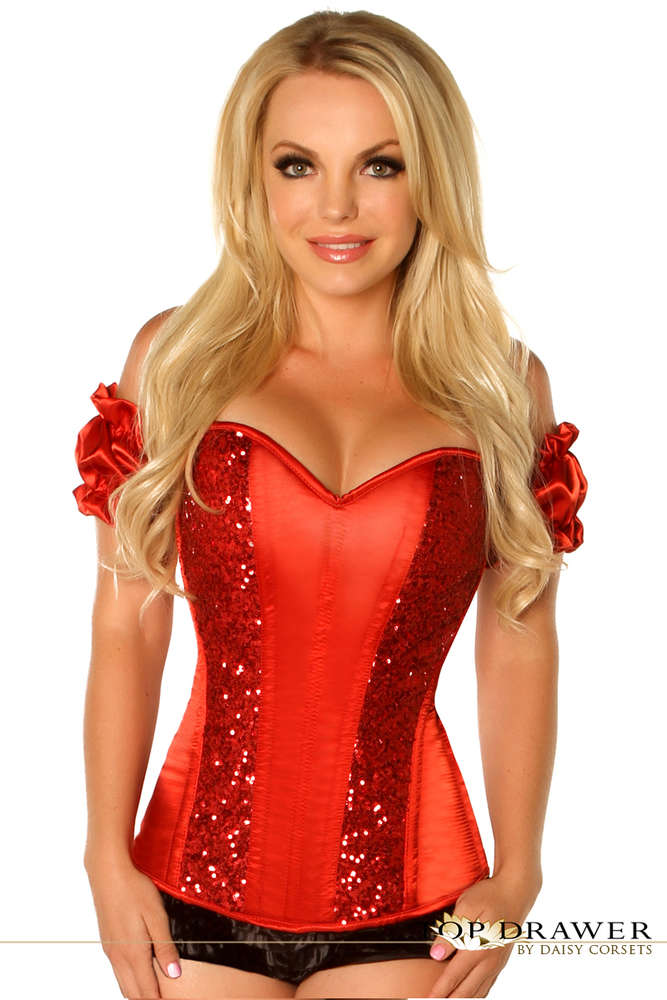 Red Steel Boned Molded Cup Sequin Corset - Fashion