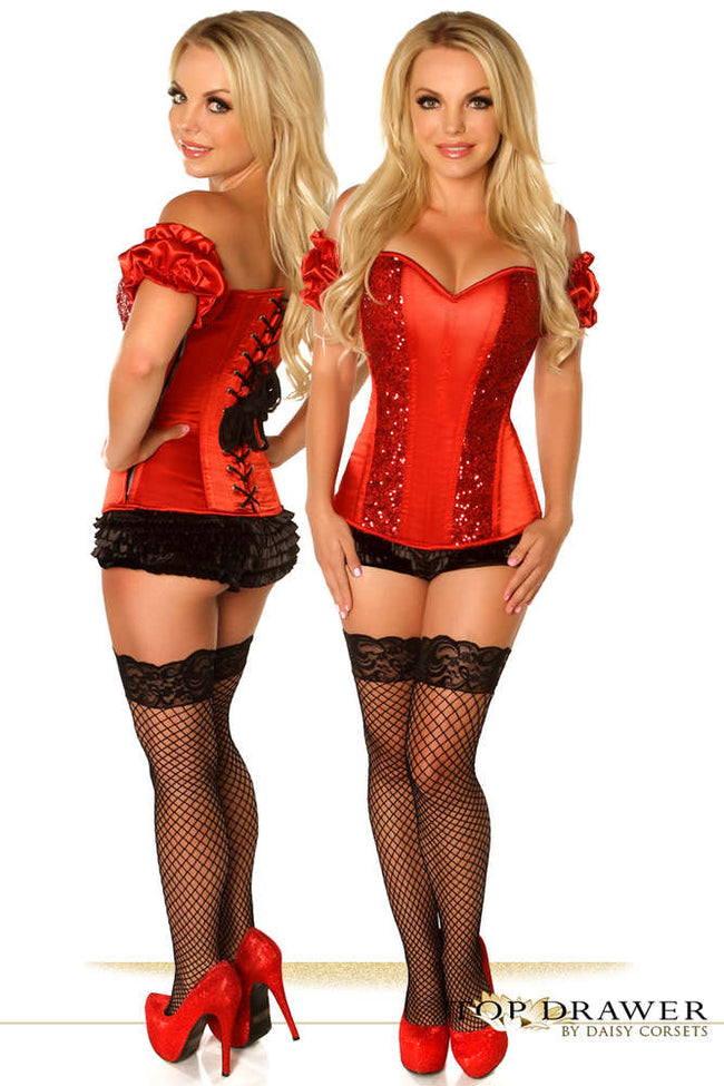 Red Steel Boned Molded Cup Sequin Corset - Females Fashion