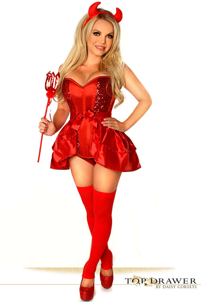 4 PC Sexy Devil Costume - Fashion
