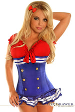 Royal Blue Pin-Up Underbust Sailor Corset Costume - Fashion